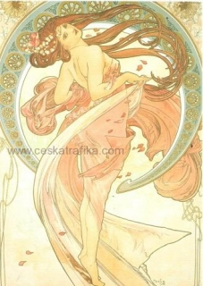 Pohlednice Alfons Mucha - Dance - 1898