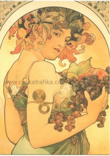 Pohlednice Alfons Mucha - Fruit - 1897
